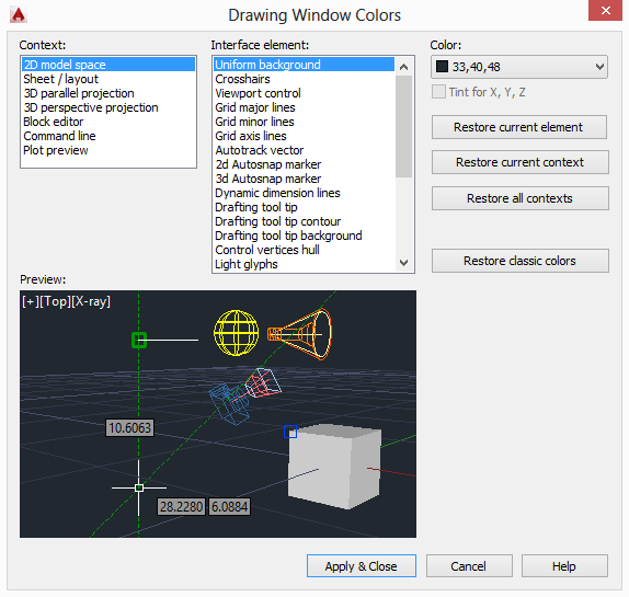 window to change autocad parameters