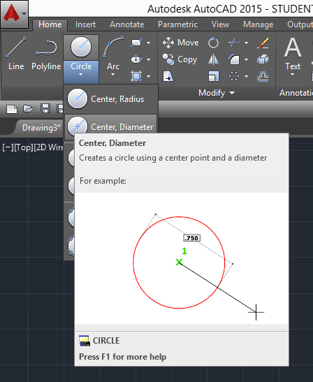 circle command in autocad
