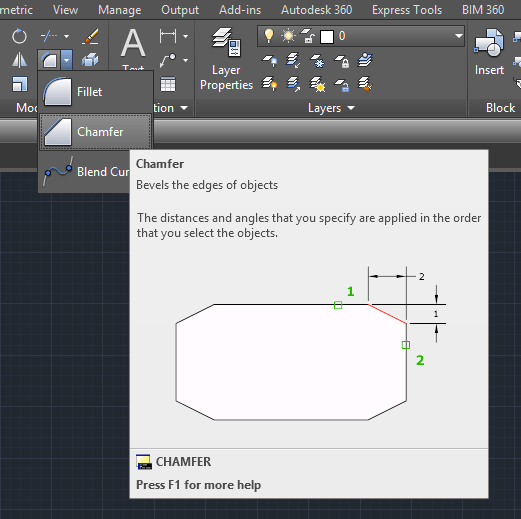 chamfer in autocad