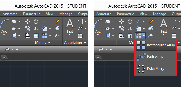 array pattern in autocad