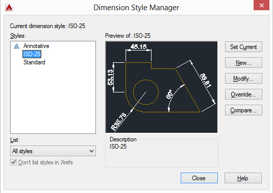 dimstyle window in autocad