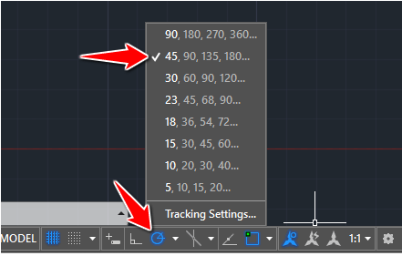 tracking setting autocad