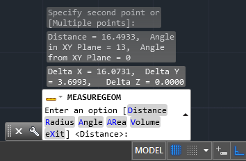 find distances in autocad