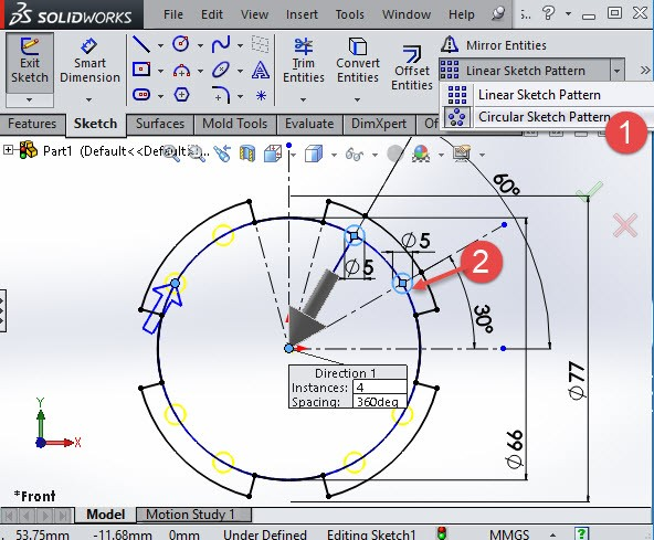 Solidworks circular pattern