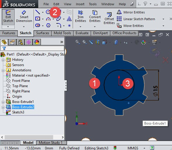 Solidworks draw a circle