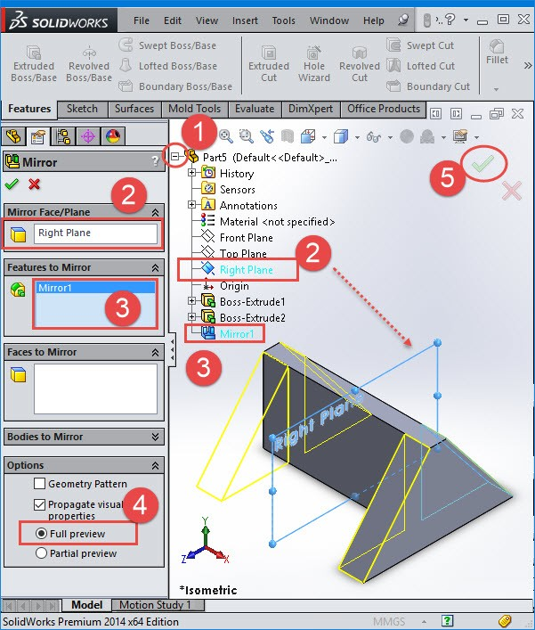 Mirror Parts solidworks tutorial
