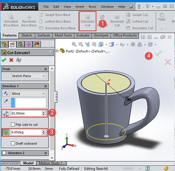 solidworks extrude cut