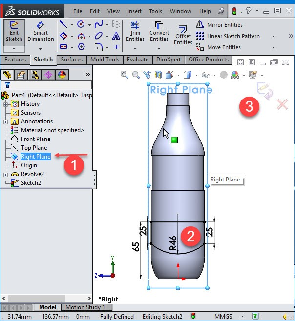 solidworks right plane