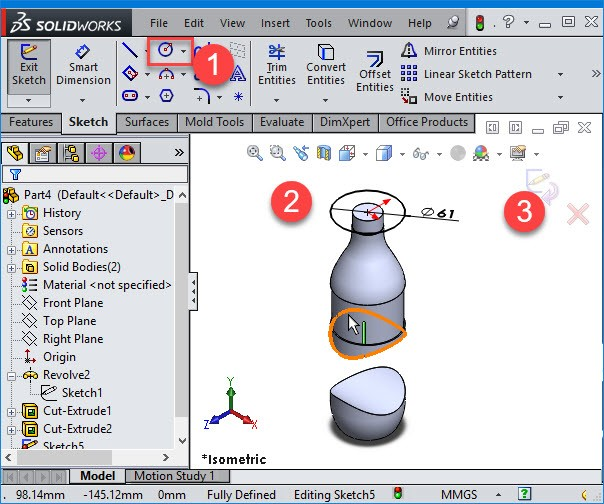 solidworks create a circle