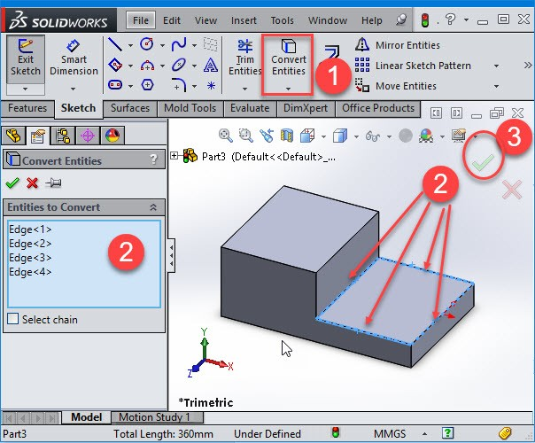 selecting edges in solidworks