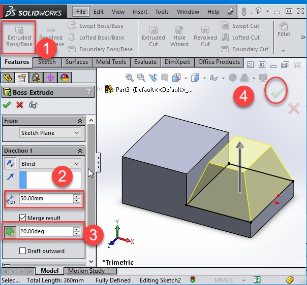 extrusion preview in solidworks
