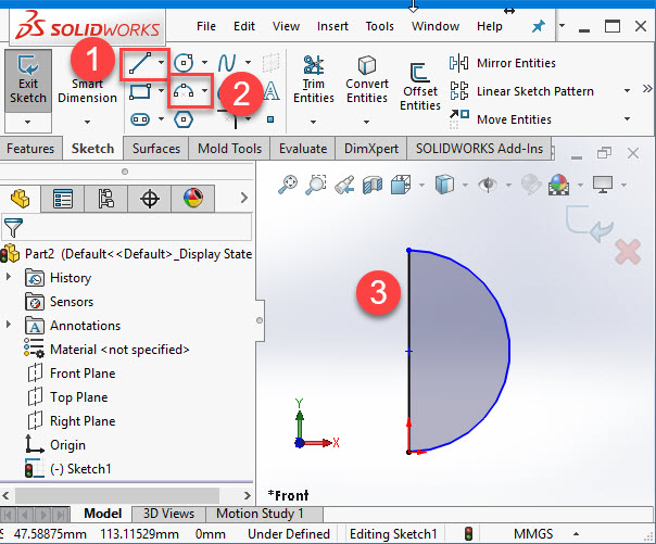How to create a Sphere in Solidworks