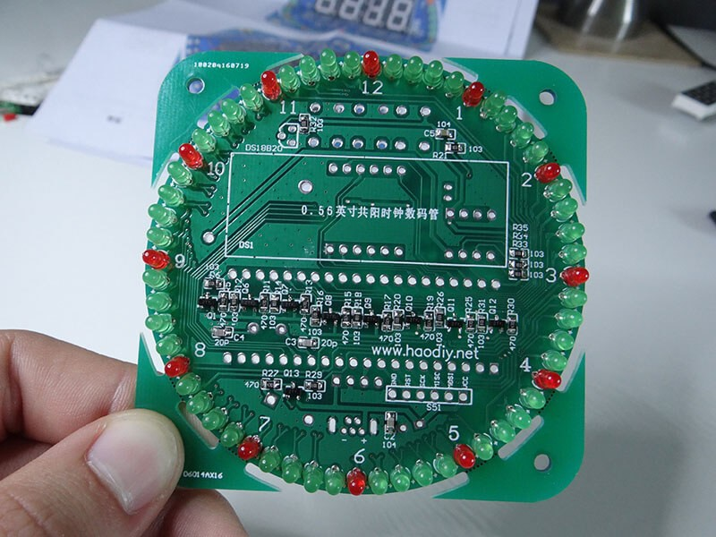 completed led mounted on the circuit board