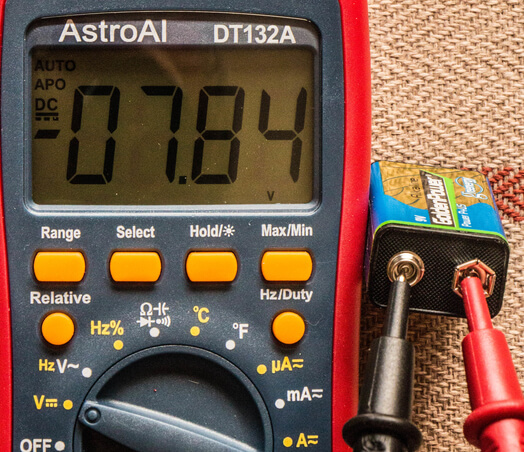 9v battery testing using a multimeter